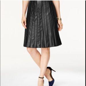 Alfani Faux Leather Pleated Black Skirt